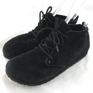Birkenstock Dundee lace up clogs shoes black suede